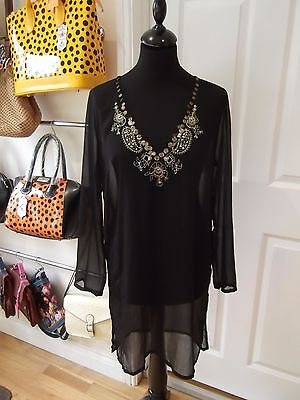 Black Kaftan Tunic by Accessorize with Gold Sequins/Beads Sheer in Size Large