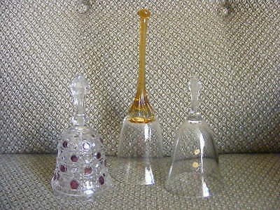 Lead Crystal Bell + Amber Glass Bell + Cranberry Glass Bell