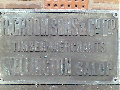 Solid Brass Antique Sign R,groom & Sons Wellington Salop
