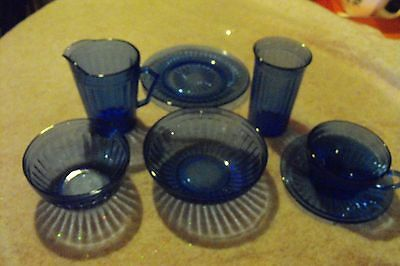 """7 PIECE DEPRESSION """"BLUE AURORA"""" FULL 1 PLACE SETTING (All Pieces) - 1937-38"""