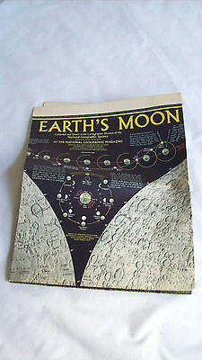 """1969 National Geographic Map """"earth's Moon"""""""