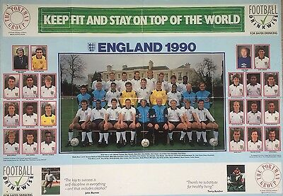 England Official Giant Team Poster World Cup 1990