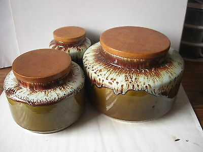 3 sizes set Arklow Pottery storage jars drip glaze 1960s / 70s vintage