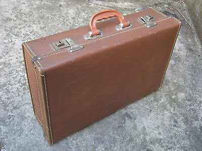 Small brown vintage faux leather pressed suitcase hand luggage 1950s