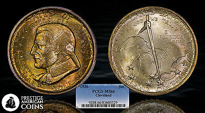 1936 50c Commemorative Half Dollar PCGS MS-66 Cleveland - Beautifully Toned!