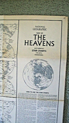 """1970 National Geographic Map """"the Heavens"""""""