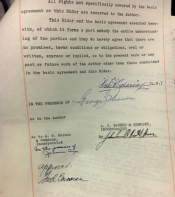 """1955 Babe Didrikson Zaharias Signed 9 Pg Contract For """"this Life I've Led"""" Book"""