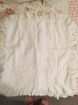 Two 2 Bella Notte Euro Linen White Embroidered Shell Buttons Ruffle Pillow Shams
