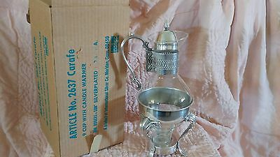 WM Rogers & Son. Antique Cut Glass & Silver Plated Carafe - 9 cup with warmer