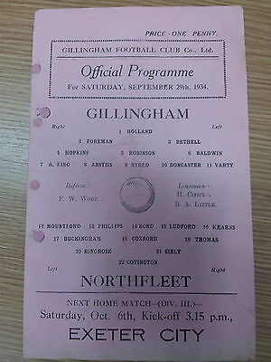 1934/35 Kent League GILLINGHAM v NORTHFLEET