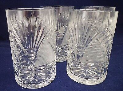 "Beautifully Designed 4 Cut Crystal 4"" Tumbler Glasses ex cond"