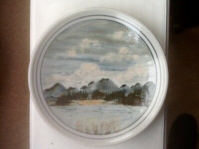 Highland Stoneware Scotland Hand Painted Landscape Wall Plate 26cm