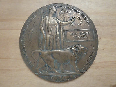 Genuine Full size World War One Death Plaque/dead mans penny