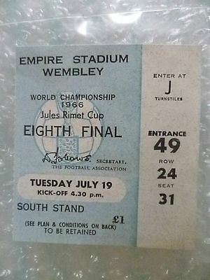 1966 World Cup Ticket MEXICO v URUGUAY, 19 July (Genuine*)