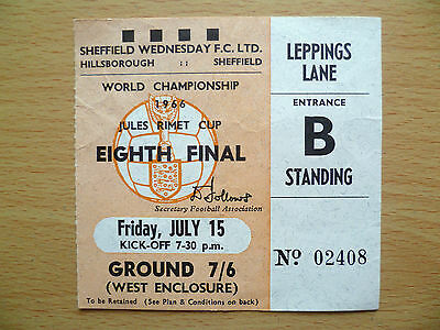 1966 World Cup Ticket URUGUAY v FRANCE, 15 July (Genuine*, Exc*)