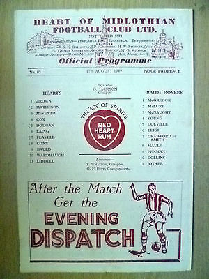 1949 League Cup- RAITH ROVERS v HEART OF MIDLOTHIAN, 17 Aug 1949 (Org, VG*)