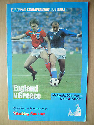 European Championship 1983- ENGLAND v GREECE, Hand Signed by Team Player