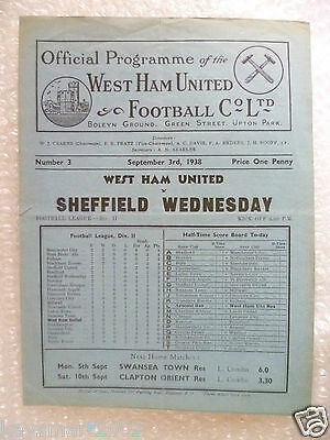 1938 WEST HAM UNITED v SHEFFIELD WEDNESDAY, 3rd Sept (very RARE)