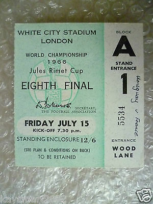 1966 World Cup Ticket- URUGUAY v FRANCE, 15 July (Original* Excellent*)