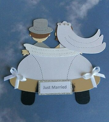 "Bride & Groom ""Just Married"" Handmade Die Cut Shapes / Toppers"