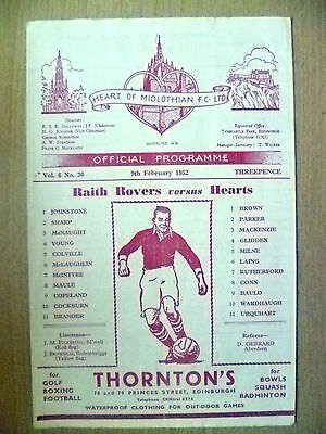 1952 RAITH ROVERS v HEART OF MIDLOTHIAN, 9 Feb 1952 (Org, VG*)