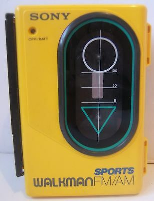 Sony Sports Walkman WM-F45 Stereo Cassette Player AM/FM Yellow Tested Works