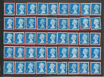 45 2nd Class Unfranked GB Stamps On Red Paper