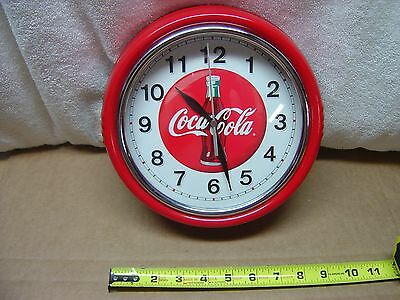 Vintage Rare Coca Cola Clock Coke Round Metal Red keeps perfect time w/second