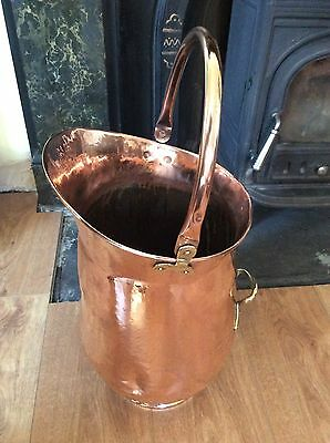 Victorian Vintage Hammered Copper & Brass Handle  Coal Scuttle Log Bucket