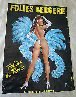 Folies Bergere  Dancing Girl Paris France Poster Showgirl Blue