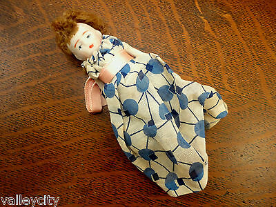 """Vtg 4"""" Penny Doll All Solid Bisque Antique Unmarked Original Dress Clothes Girl"""