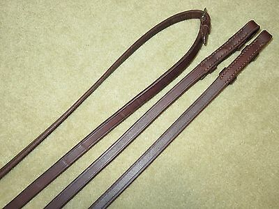 """LIGHT USE~Supple HIGH QUALITY Brown English 1/2"""" Wide Plain Leather Reins~107"""""""