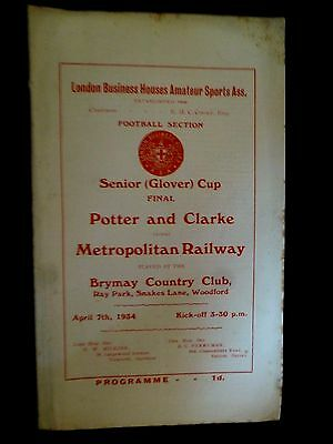 1934 London Business Football Cup Final- Potter and Clark v Metropolitan Railway