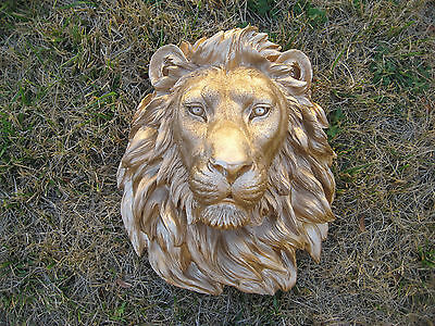 Safari Large Gold Lion Head Wall Mount Statue Decoration