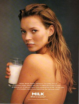 "NUDE KATE MOSS  - (GOT MILK) - WHAT A SURPRISE ad (8 1/2"" x 11"") 1995"