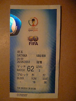 2002 World Cup Semi Final Ticket BRAZIL v TURKEY, 26 June
