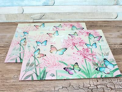 Glass butterfly blossom mirrored set of 2 placemats pink heat resistant