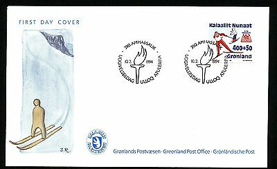 Greenland 1993 cachet  First Day Cover Skiing; Winter Olympics in Lillehammer..