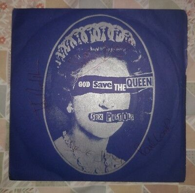 "Sex Pistols - God Save The Queen 7"" Pic SIGNED by Johnny Sid Steve & Paul"