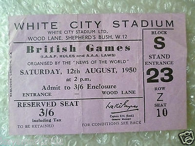 1950 British Games Ticket Organised by News of the World, 12 Aug 1950
