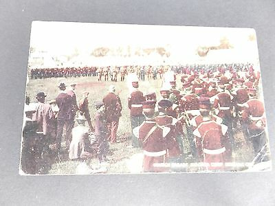 Antique Postcard, NIAGARA MILITARY CAMP,  Parade with tents in background, 1912