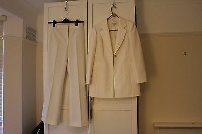 Size 10 Phase 8 white trouser suit - long line blazer and wide bottom trousers