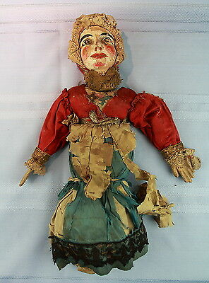 Antique Hand-Made Puppet-Marionette Folk-Art Old-Paint-and-Clothes