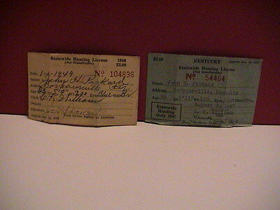 Lot /2 Kentucky Div Of Game Fish 1947 & 1949 Hunting & Fishing Resident Licenses