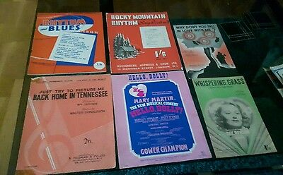 6 Vintage Books Of Song Sheets Music And Lyrics.