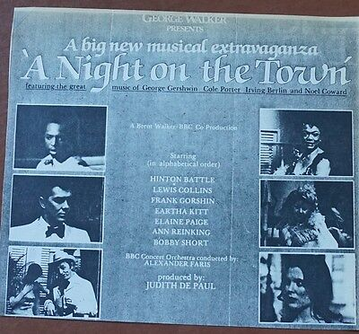 The Professionals Lewis Collins A Night on the Town Elaine Paige Musical Ad
