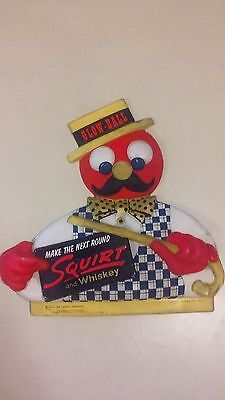 Vintage 1955 Squirt Company and whiskey Glow Ball USA Plastic Figur Sign Display