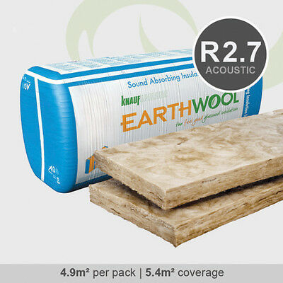 R2.7HD | 430mm Knauf Earthwool Acoustic Wall Insulation Batts (4.9m2 per pack)