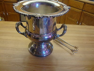 Silverplate Wine Or Champagne Cooler W/ Bird's Claw Feet Ice Tong Made In Canada