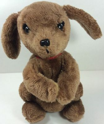 Dakin Vintage 1980 Brown Stuffed Animal Puppy Dog Floppy Ears Red Collar Toy